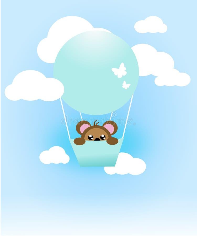 Impulso blu di volo sul cielo con l'animale sveglio illustrazione vettoriale