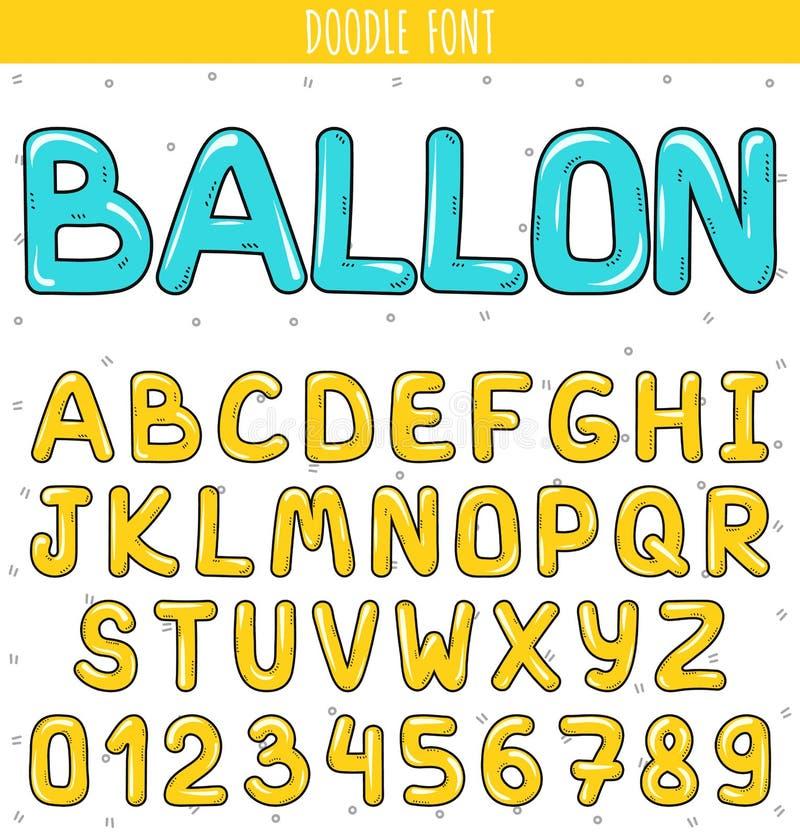 Impulso de la fuente Fije las letras del volumen, números en garabato Pone letras a handdrawn stock de ilustración