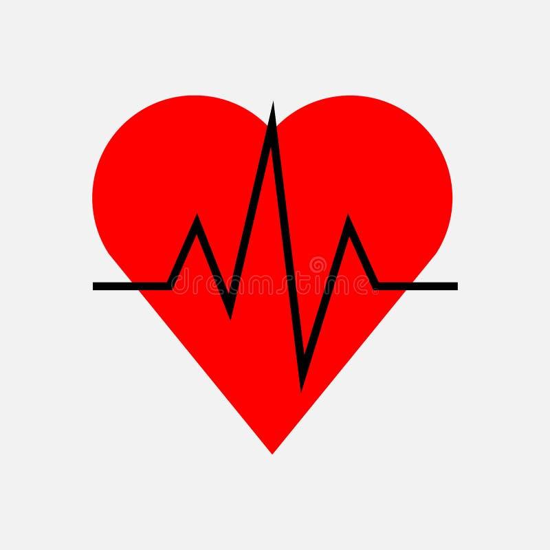 Impulso del corazón, cardiología del icono stock de ilustración