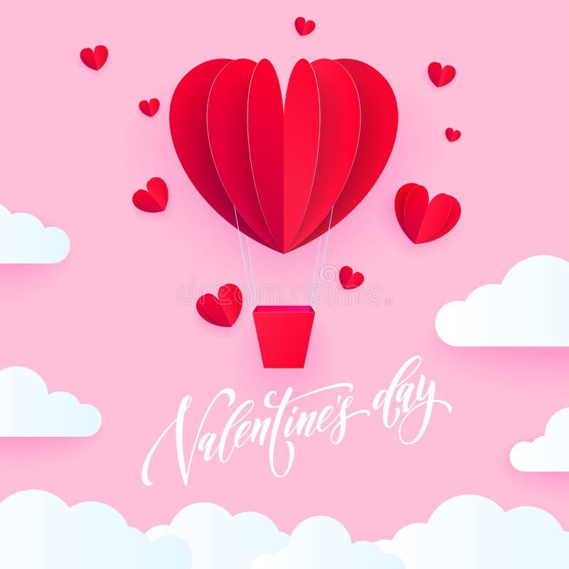 Impulso dell'aria del cuore del biglietto di S. Valentino per la carta di festa di giorno del ` s del biglietto di S. Valentino C illustrazione vettoriale