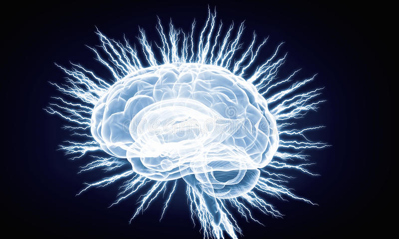Impulso do cérebro humano Meios mistos imagem de stock royalty free