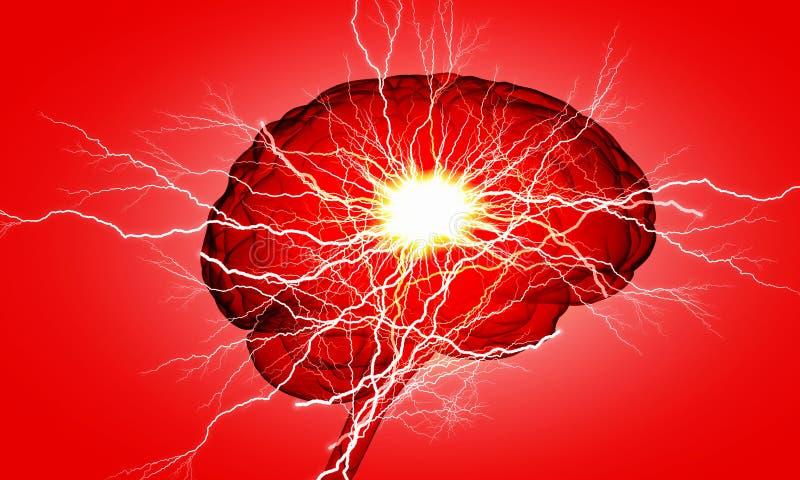Impulso do cérebro humano Meios mistos fotografia de stock royalty free