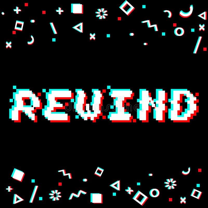Impulso errato del pixel di rewind di vettore illustrazione vettoriale