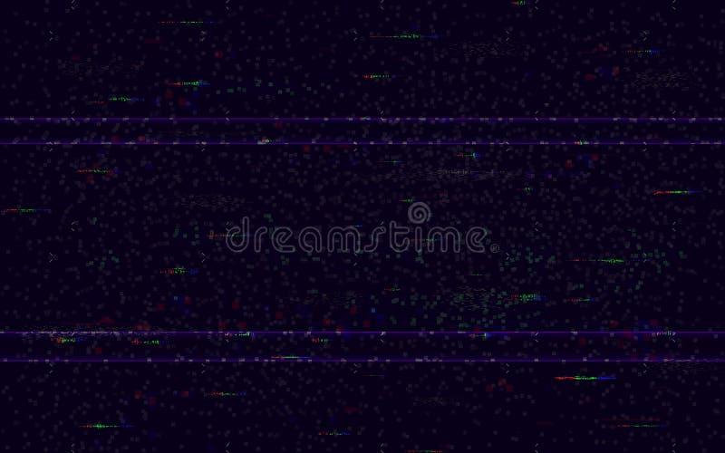 Impulso errato nessun segnale Contesto minimo di VHS Video modello di problema Rumore del pixel e distorsioni digitali di colore  illustrazione vettoriale