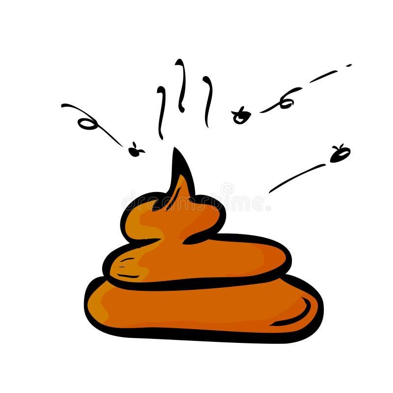 Impulso plano simple mismo del bosquejo del drenaje de la mano de Brown con la mosca libre illustration