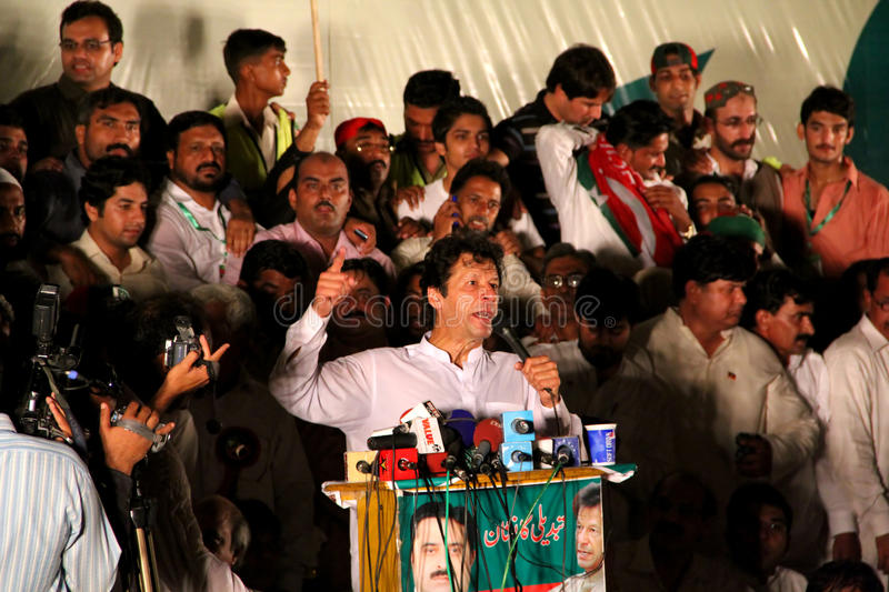Imran Khan. GUJRANWALA, PAKISTAN - SEPT. 25: Chairman Pakistan Tehreek-e-Insaf Imran Khan addressing to the crowd during a political rally on September 25, 2011 royalty free stock images