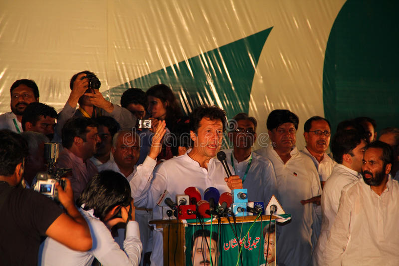 Imran Khan at Political Rally. GUJRANWALA, PAKISTAN - SEPT. 25: Chairman Pakistan Tehreek-e-Insaf Imran Khan addressing to the crowd during a political rally on stock images