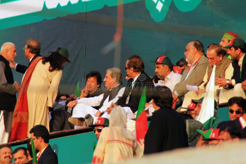 Imran Khan at a Rally in Karachi, Pakistan stock photography