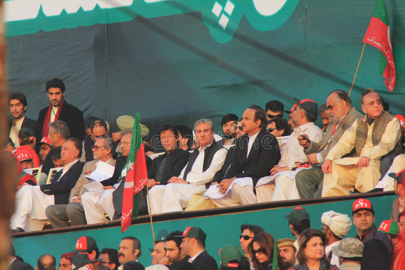 Imran Khan at a Rally in Karachi, Pakistan. Former cricketer turned politician Imran Khan on stage at a rally organized by his party PTI (Pakistan Tehreek e royalty free stock photography