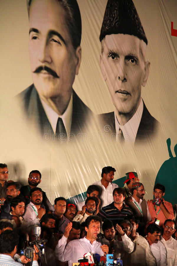 Imran Khan Speech. GUJRANWALA, PAKISTAN - SEPT. 25: Chairman Pakistan Tehreek-e-Insaf Imran Khan addressing to the crowd during a political rally on September 25 royalty free stock images