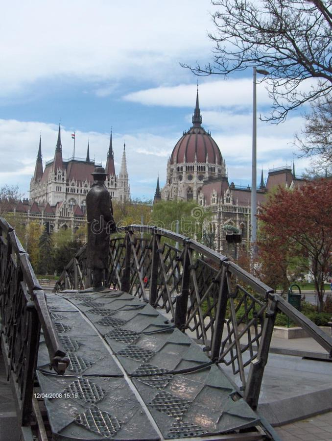 imre-nagy-man-on-the-bridge-memorial stock photos