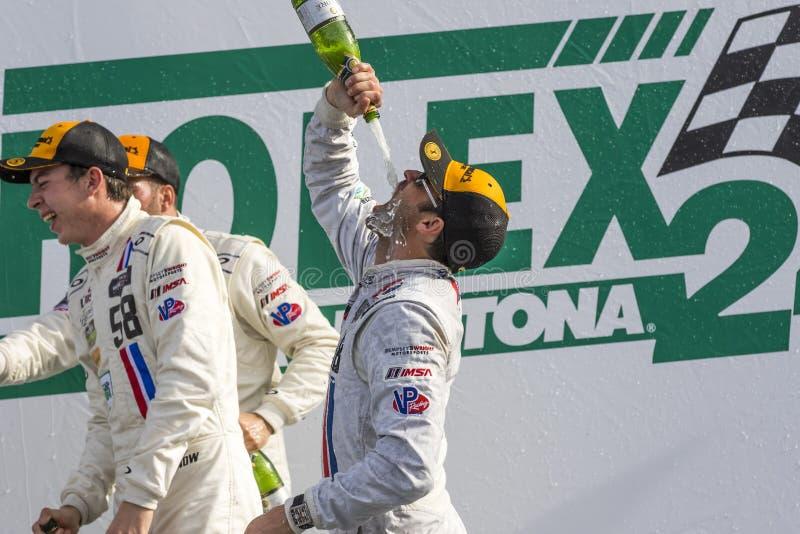 IMSA: Jan 25 Rolex 24. Daytona Beach, FL - Jan 25, 2015: Patrick Dempsey (58) and his team celebrate after winning their division at the Rolex 24 at Daytona stock photo