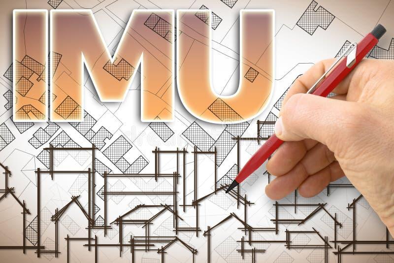 IMU que significa impuesto municipal único el impuesto italiano más impopular sobre la tierra y los edificios - imagen del concep ilustración del vector