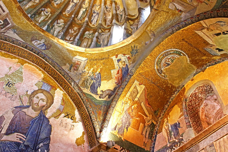 Murals under the dome, Chora chorch, Istanbul, Turkey royalty free stock image