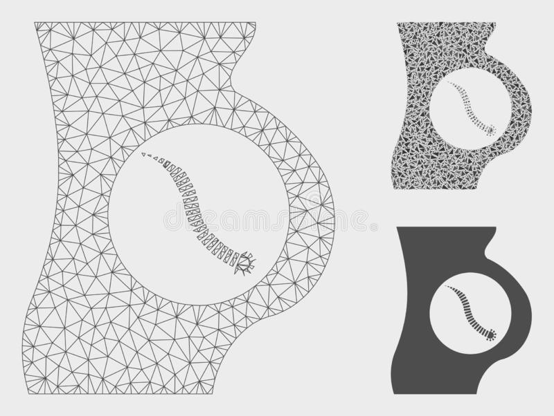 Inälvs- parasitvektor Mesh Carcass Model och mosaisk symbol för triangel stock illustrationer