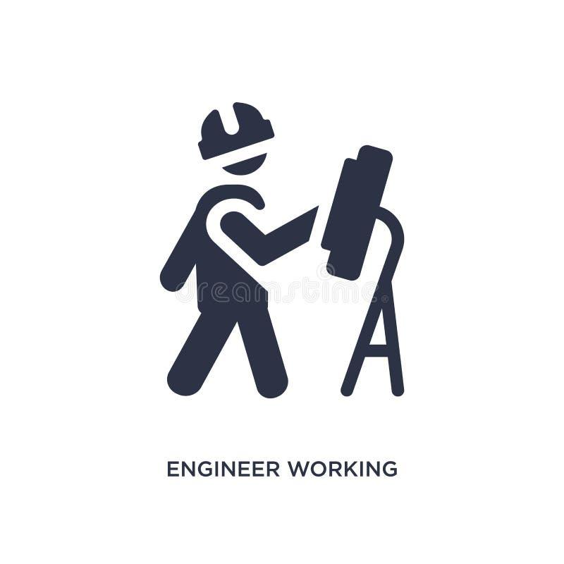 inżynier pracująca ikona na białym tle Prosta element ilustracja od zachowania pojęcia ilustracji