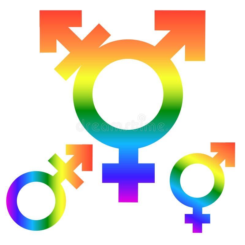 Inégalité de genre et symbole d'icône d'égalité Icône hommes-femmes de transsexuel d'homme de femme de garçon de fille Symbole de illustration libre de droits