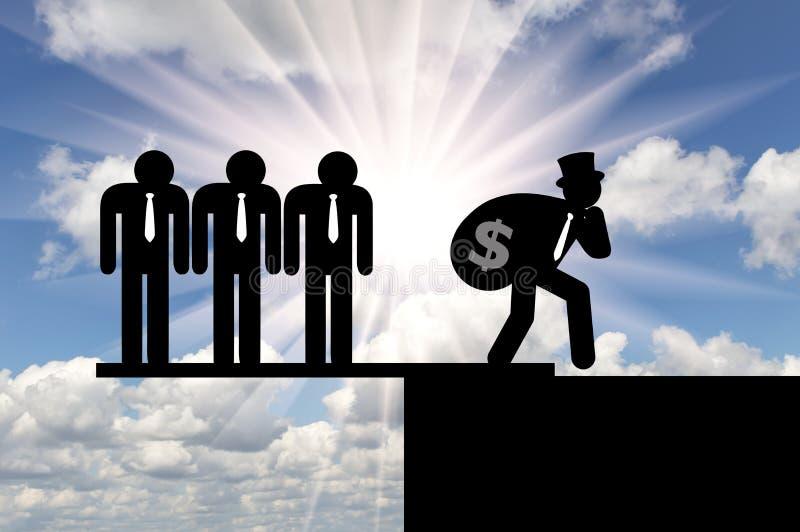 inégalité Icônes plates des personnes riches et pauvres image stock