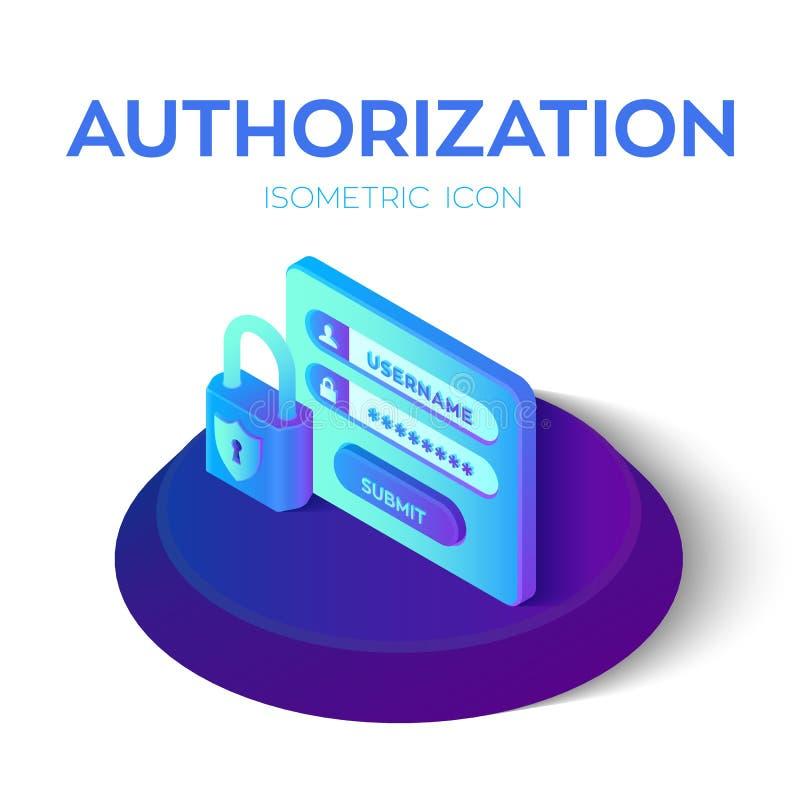 Início de uma sessão da autorização com senha Trave o ícone Ícone isométrico da conta de utilizador do acesso Formulário protegid ilustração royalty free
