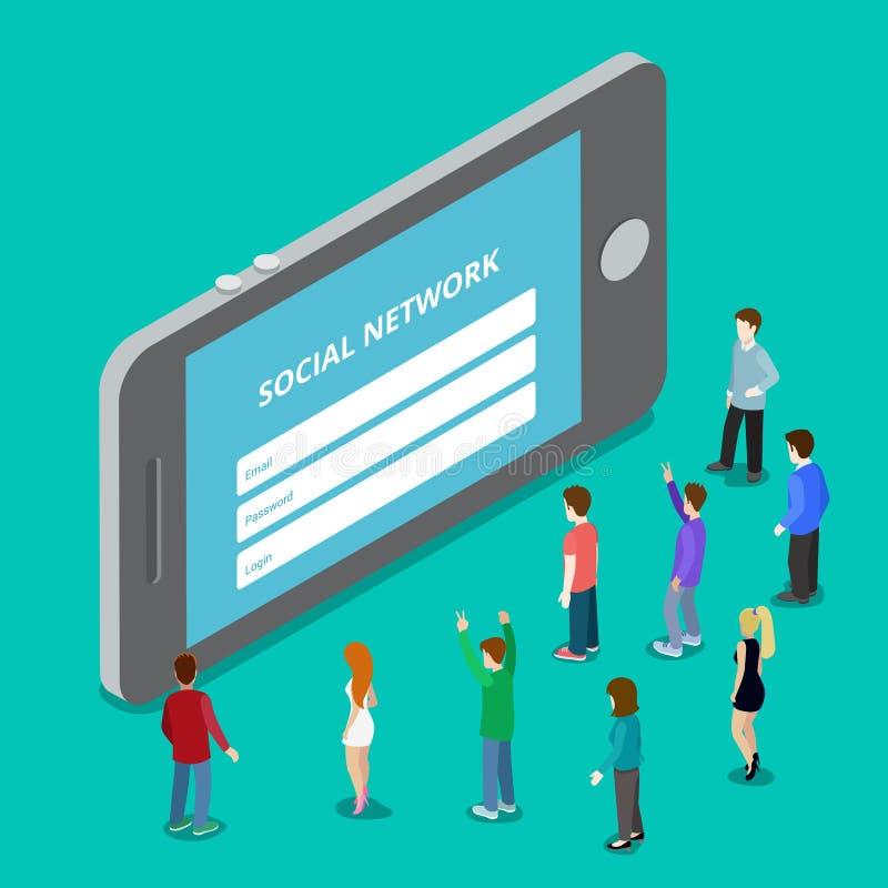 Início de uma sessão móvel da rede da aplicação dos meios sociais soc ilustração stock