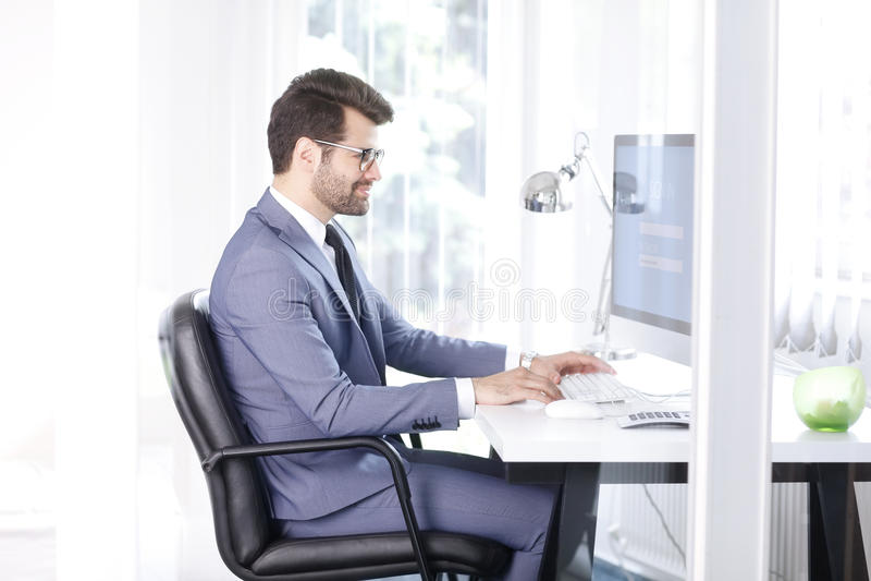 Início de uma sessão a seu computador fotografia de stock royalty free