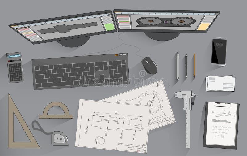 Inżynierów atrybuty ilustracja wektor