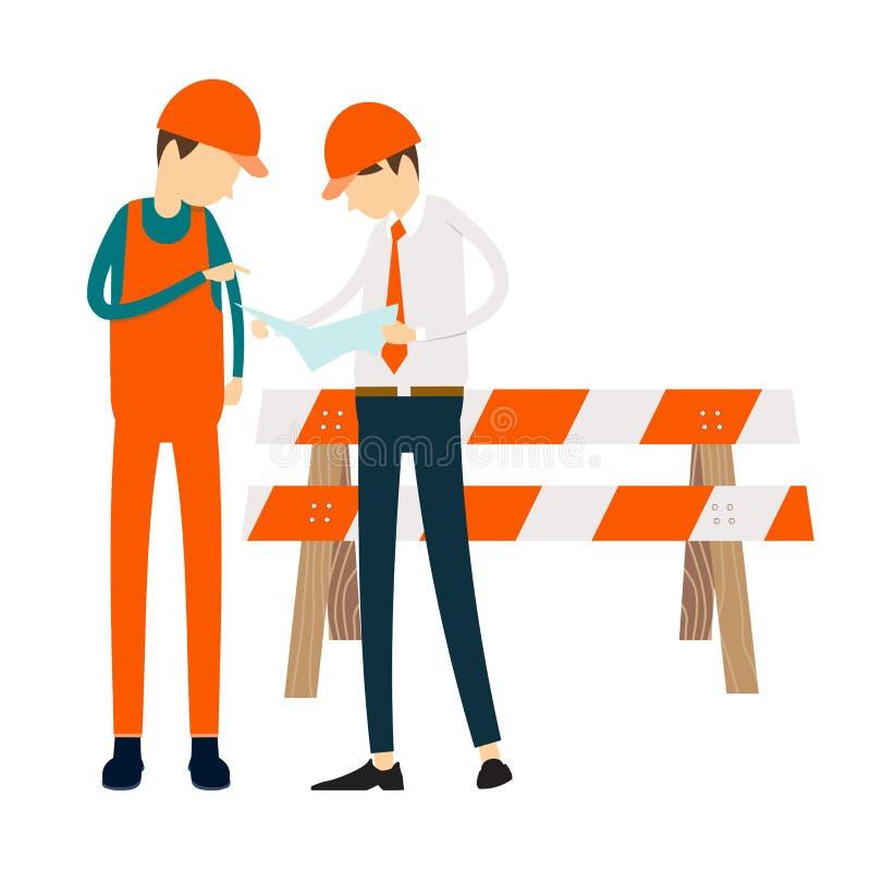Inżynierów ludzie spotyka związek przy praca biznesem ilustracji