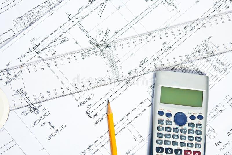 Inżynierów plany i obliczenia zdjęcie stock