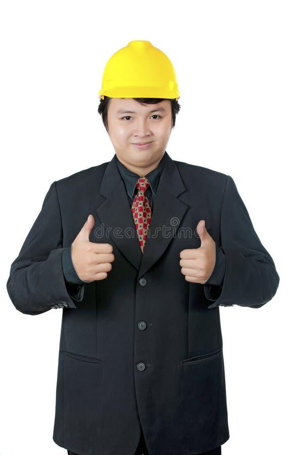 inżynier daje aprobatom fotografia stock