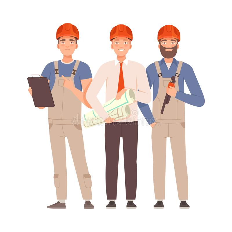 Inżynier i dwaj budowniczy z narzędziami Ilustracja wektorowa royalty ilustracja