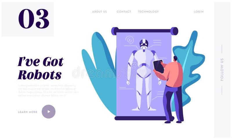 In?ynier i programowanie robot Tworzymy Ludzkiej i Sztucznej inteligencji mechanizmu Futurystyczna technologia Ogromny robot na e ilustracja wektor