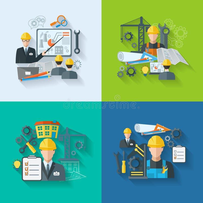 Inżynier ikony mieszkania set ilustracji