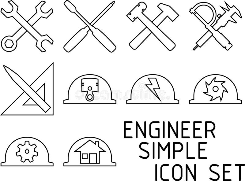 Inżynier ikony Prosty set ilustracji