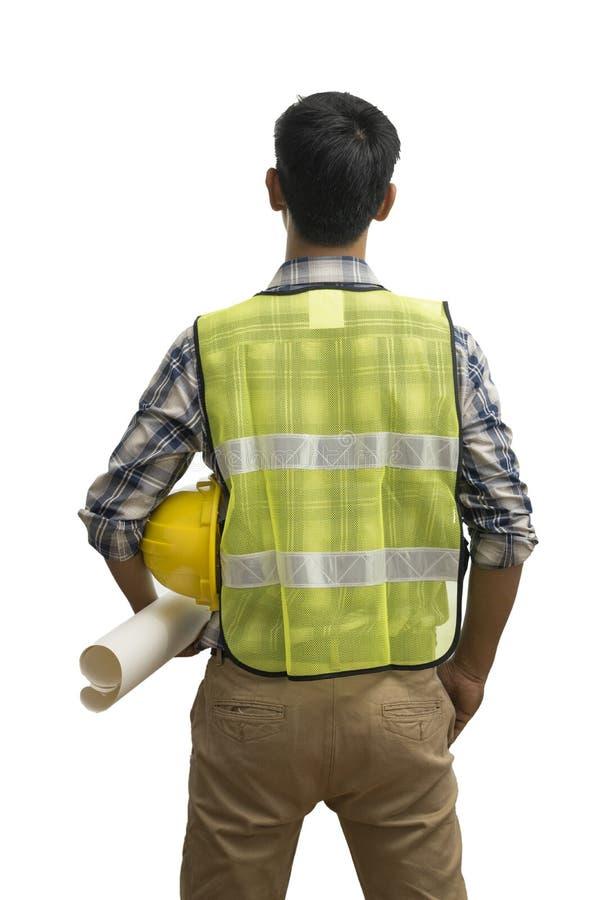 Inżynier lub biznesmen trzyma białego hełm pod jego ręką odizolowywającą na białym tle obrazy royalty free