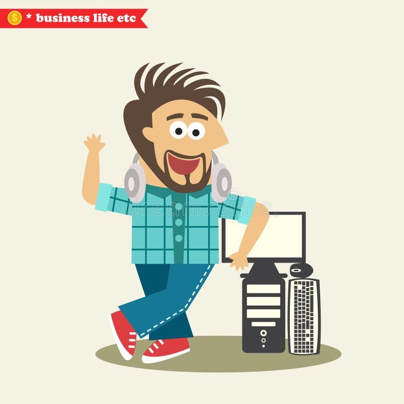 Inżynier oprogramowania jest ubranym hełmofony i jego ilustracji