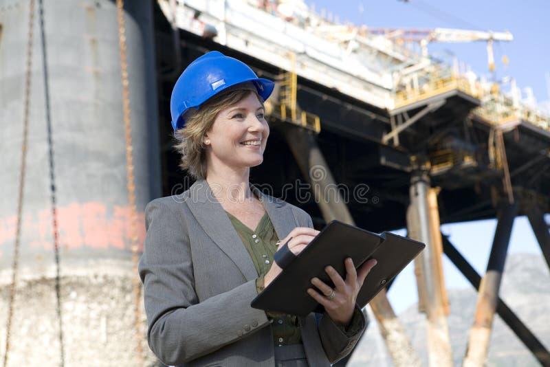 inżynier platformy wiertniczej kobieta fotografia stock