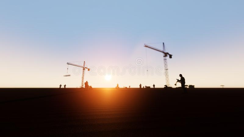 Inżynier, pracownicy budowlani i sylwetki panorama ilustracji