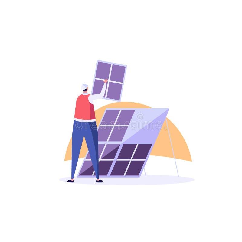Inżynier słoneczny w uniwersum instaluje i montuje panele słoneczne z laptopem Koncepcja energii słonecznej, energii słonecznej,  ilustracji