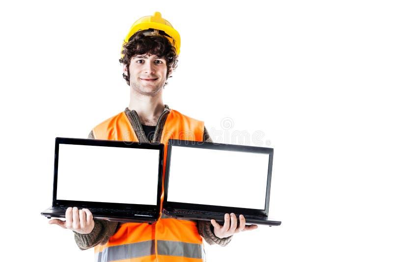 Inżynier z laptopami zdjęcia stock