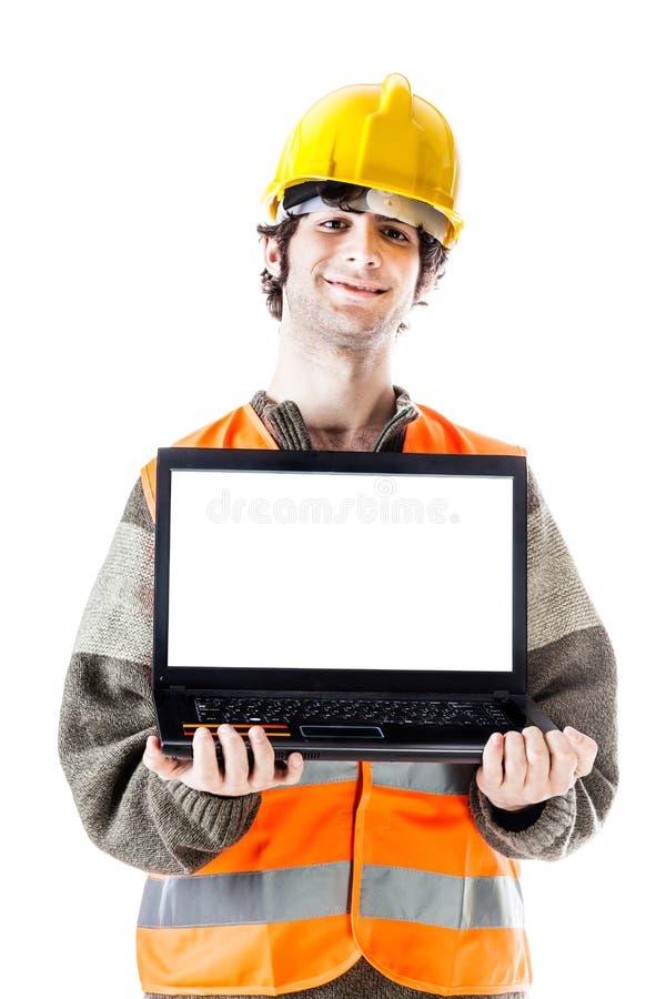 Inżynier z laptopem fotografia stock