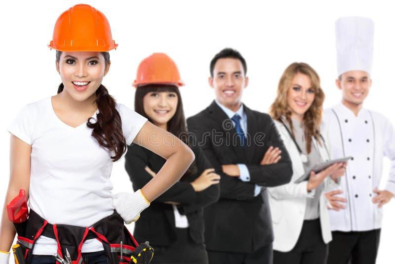 Inżyniera, architecth, biznesmena, lekarki i szefa kuchni trwanie toge, obraz stock