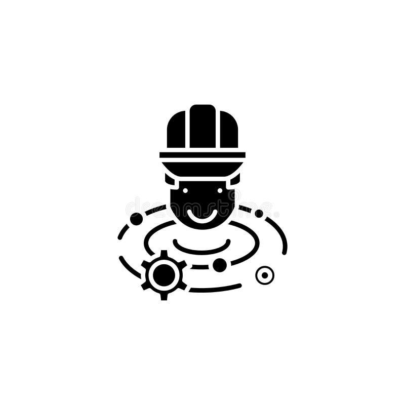 Inżyniera brainstorm czerni ikony pojęcie Konstruuje brainstorm płaskiego wektorowego symbol, znak, ilustracja ilustracja wektor