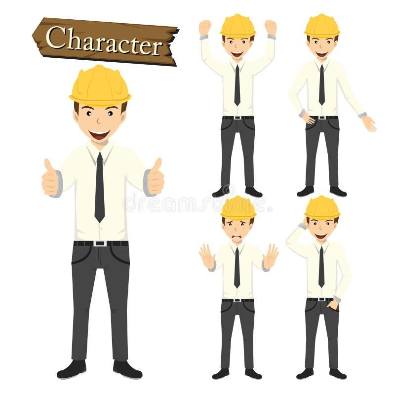 Inżyniera charakter - ustalona wektorowa ilustracja ilustracji