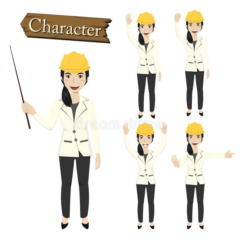 Inżyniera charakter - ustalona wektorowa ilustracja ilustracja wektor