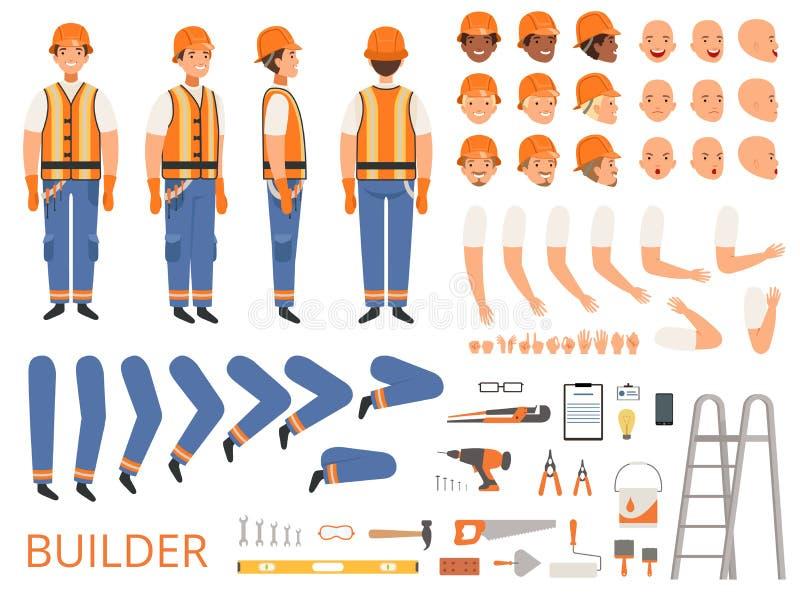 Inżyniera charakteru animacja Części ciałe i odmianowi narzędzia budowniczego konstruktor z kierowniczymi ciało ręk rękami wektor royalty ilustracja