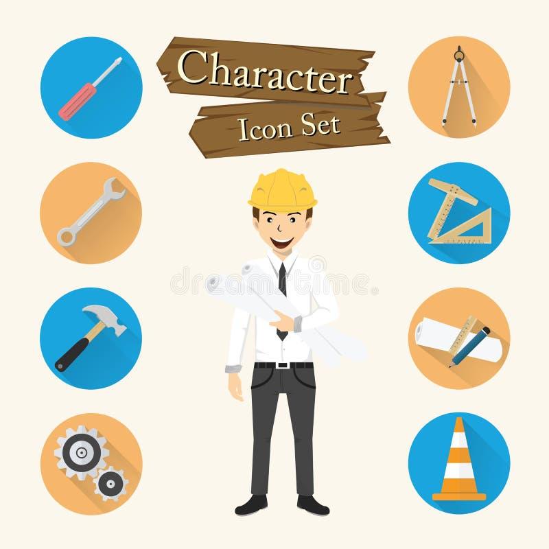 Inżyniera charakteru ikony ustalony wektor royalty ilustracja