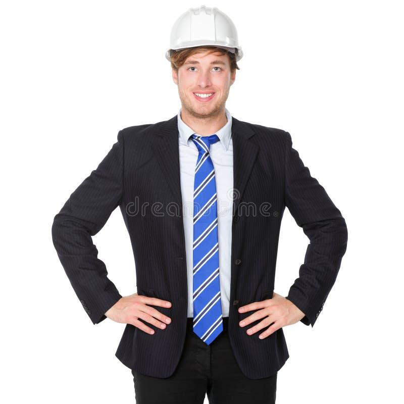 Inżyniera lub architekta biznesowy mężczyzna w kostiumu zdjęcia stock