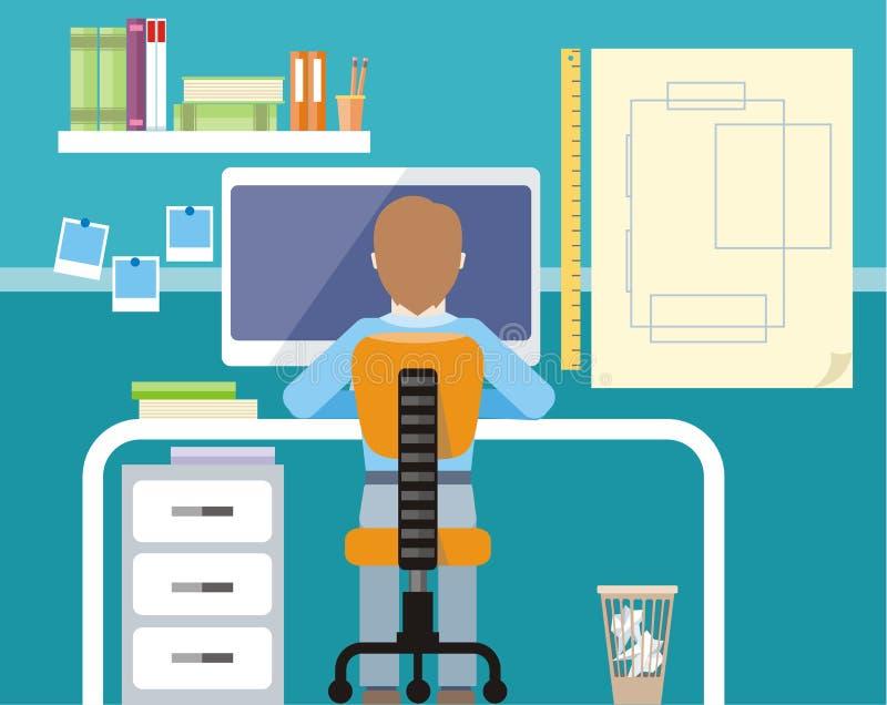 Inżyniera obsiadanie na krześle przy komputerowym monitorem royalty ilustracja