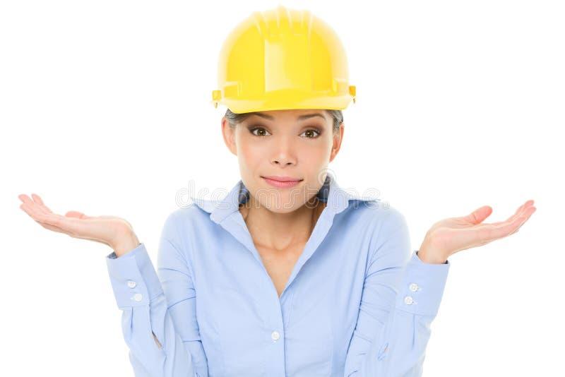Inżyniera, przedsiębiorcy lub architekta kobiety wzruszać ramionami, obrazy royalty free