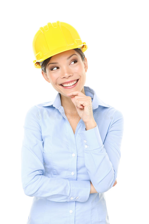 Inżyniera, przedsiębiorcy lub architekta kobiety główkowanie, zdjęcie royalty free
